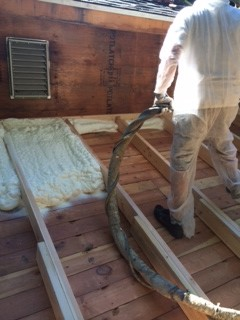 Foam insulation installed on roof deck
