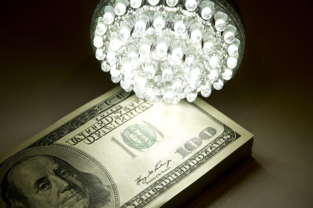 LED bulb & money